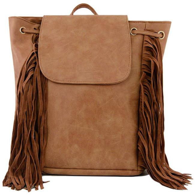 Cathrine Lillywhite GC1562BR Brown Fringe Back Pack - 13 x 15 inch
