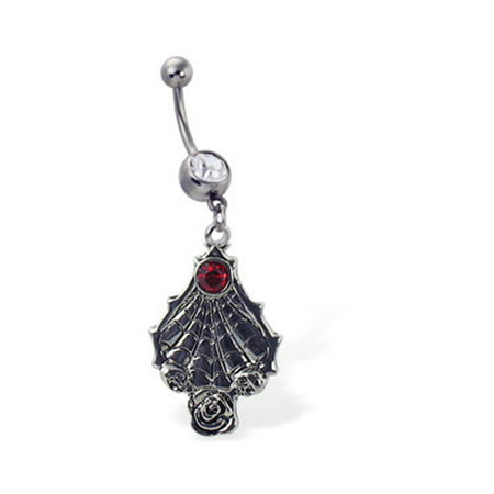 Navel Ring With Dangling Spider Web And Gem (Jewel Spider)