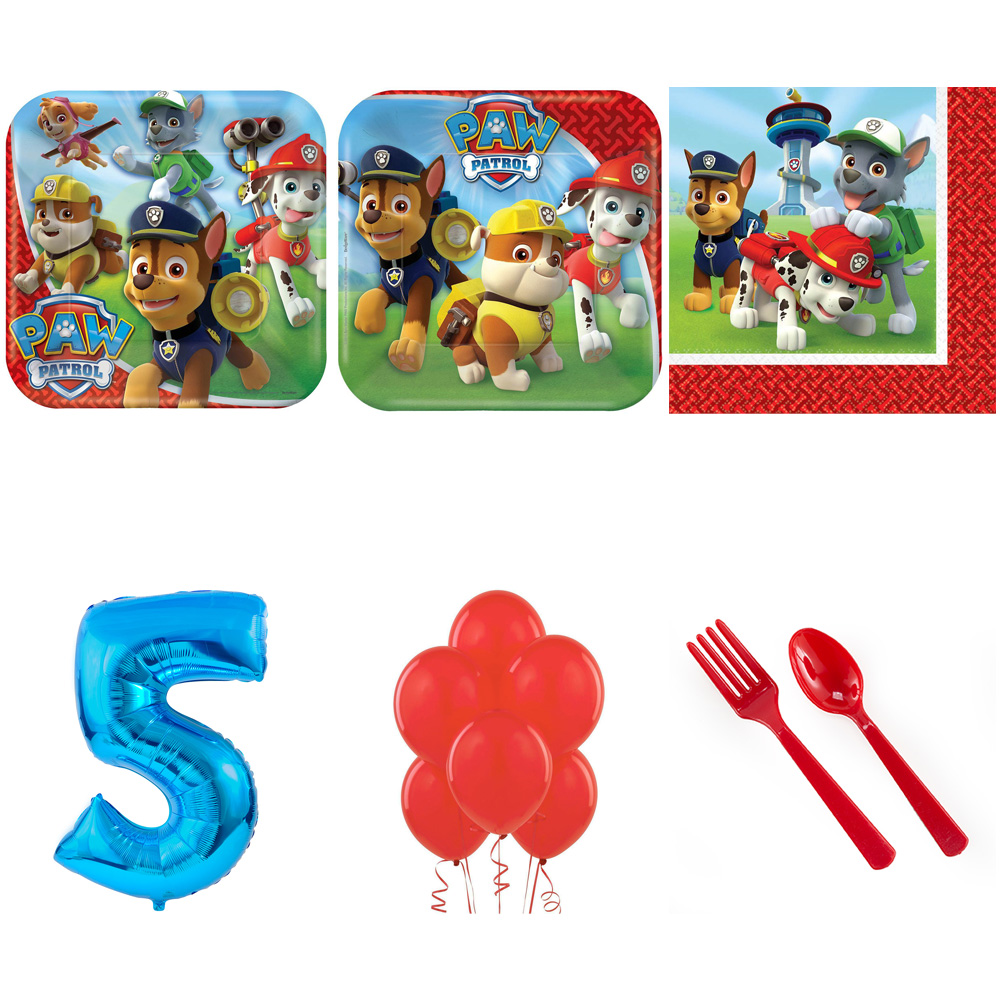 PAW PATROL PARTY SUPPLIES PARTY PACK FOR 16 WITH BLUE #4 BALLOON