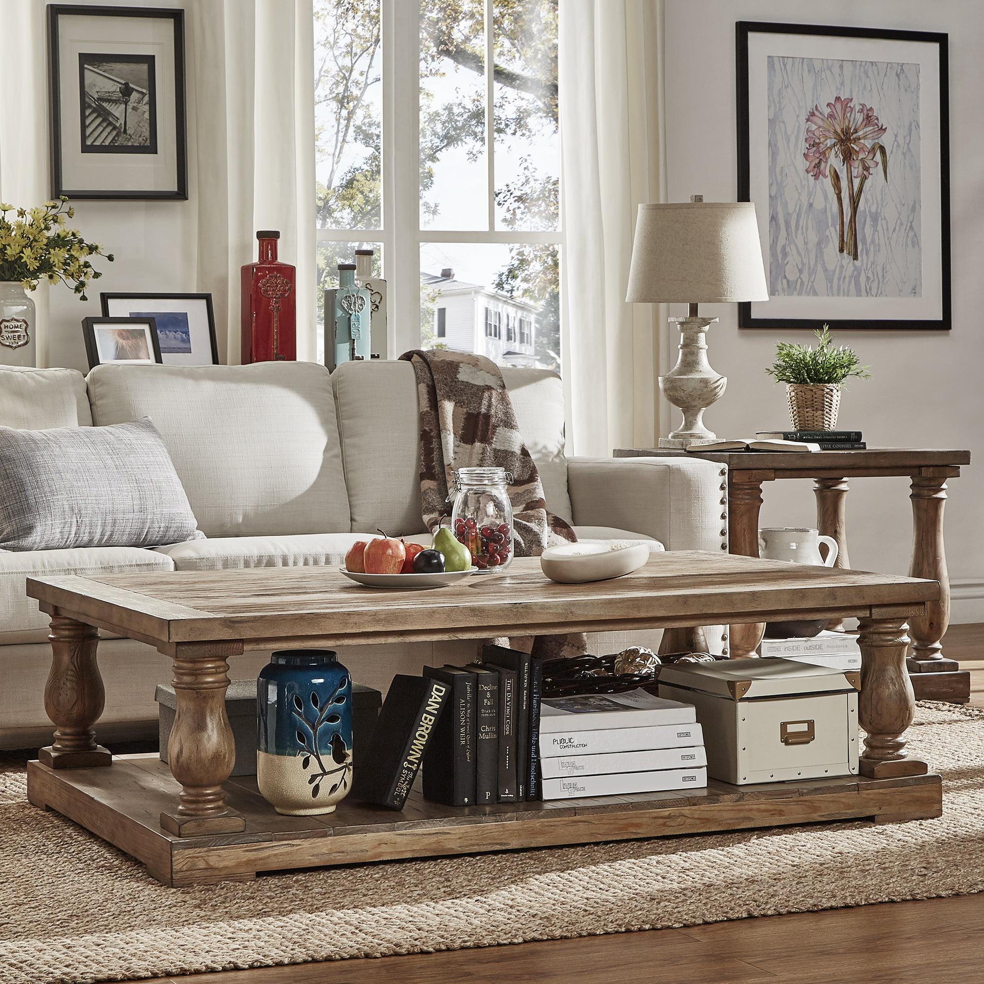 Weston Home Dunbar Pedestal Coffee Table With Lower Storage Shelf Pine Brown Walmart Com Walmart Com