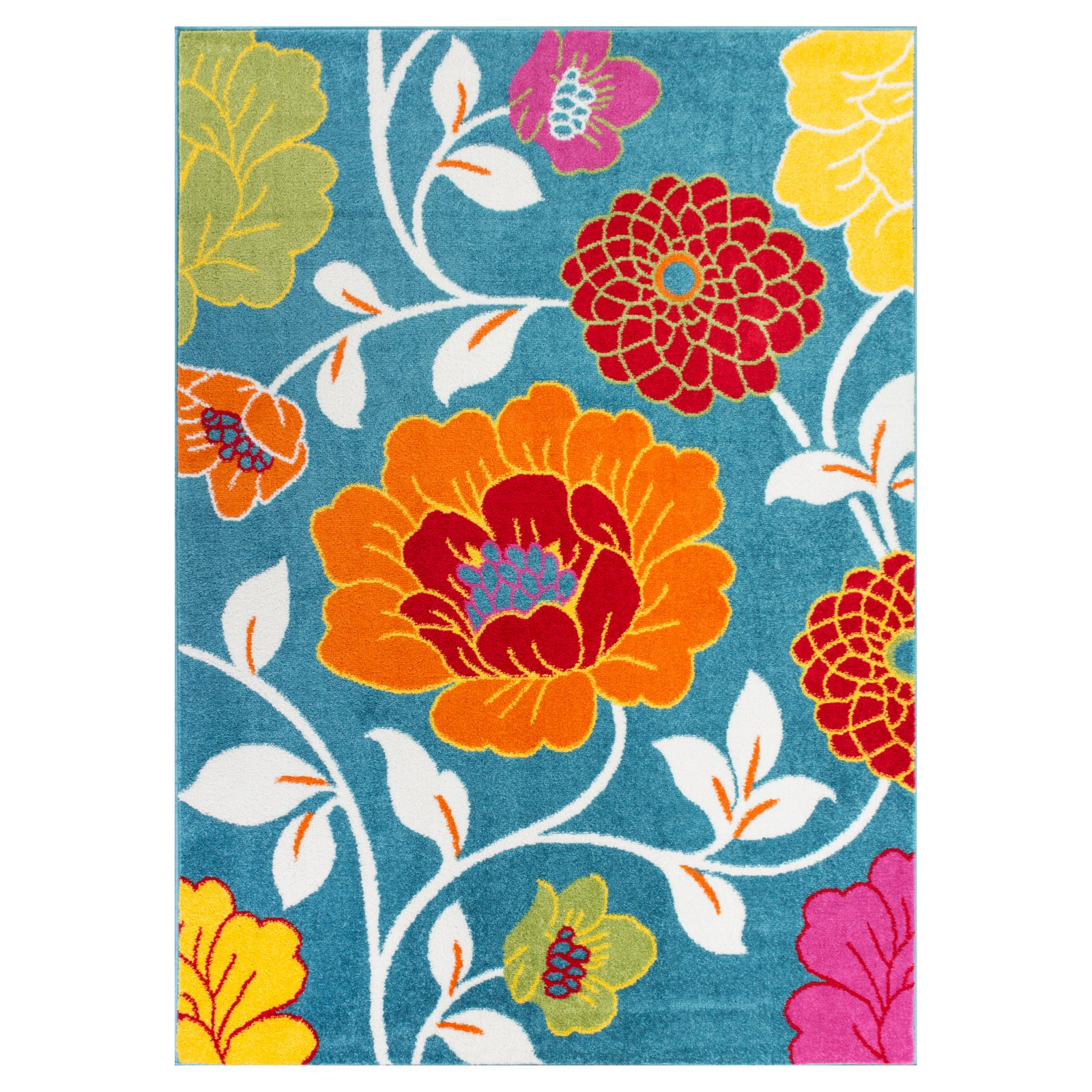 Well Woven StarBright Daisy Flowers Kids Area Rug, Blue by Well Woven