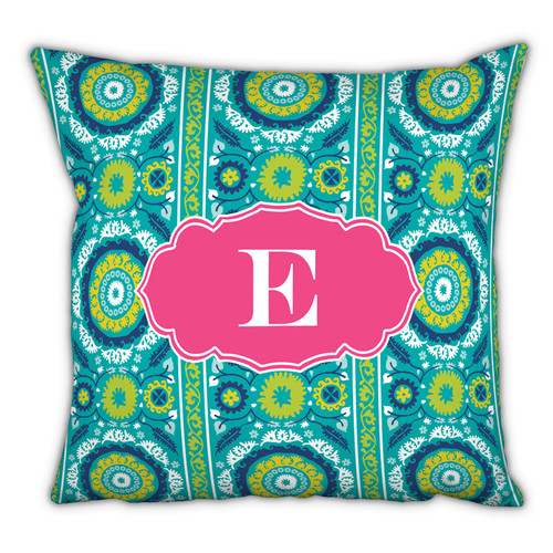 Whitney English Suzani Single Initial Cotton Throw Pillow