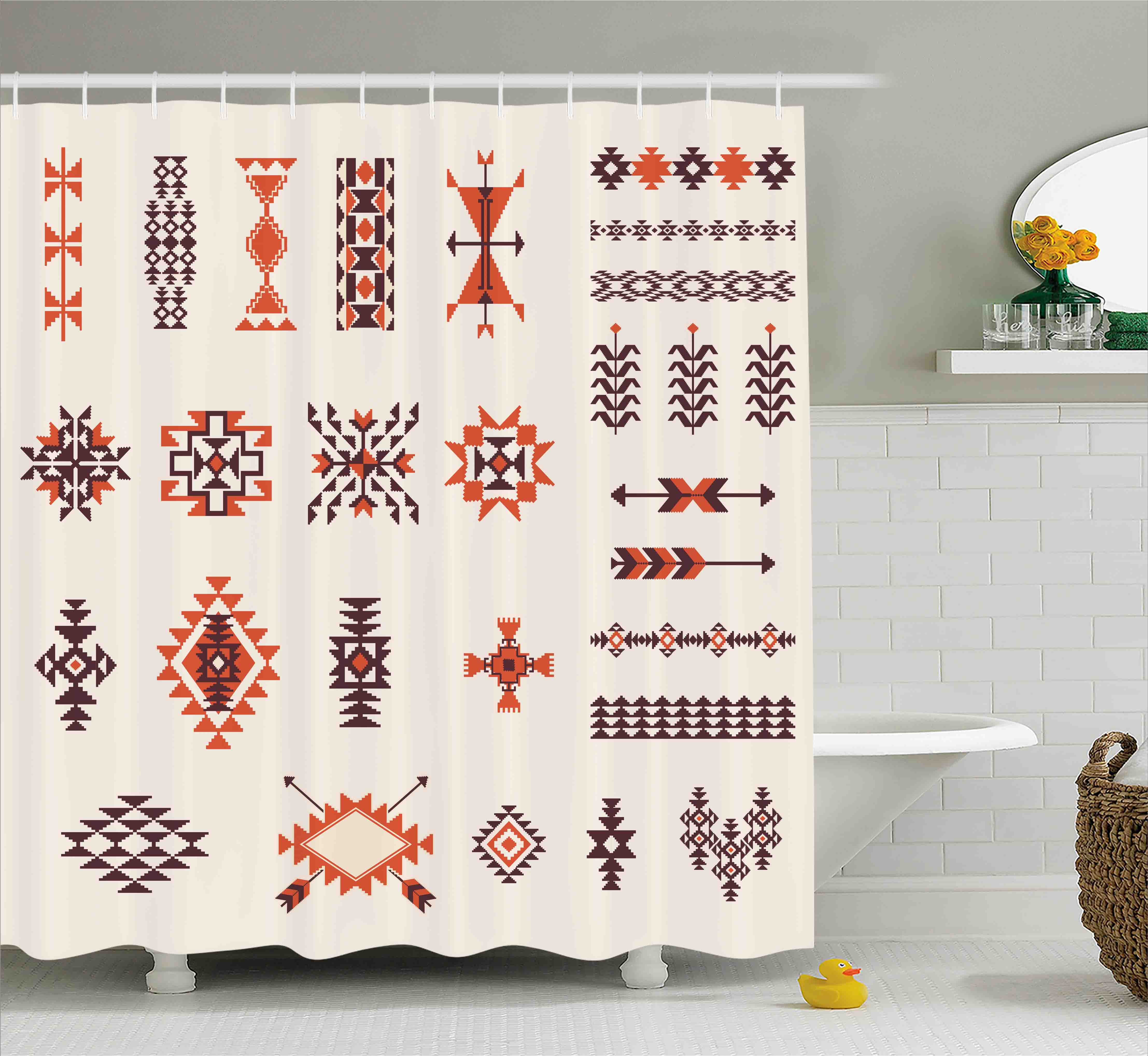 Native American Shower Curtain Illustration Of Aztec Culture Pattern Tribal Design Geometric Print Fabric Bathroom Set With Hooks Orange And Brown
