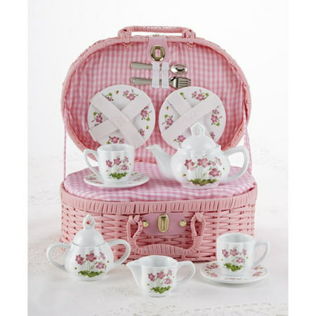 Delton 8118-6 Pink Flower Children's Tea Set - Personalized Tea Set