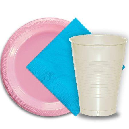 50 Pink Plastic Plates (9
