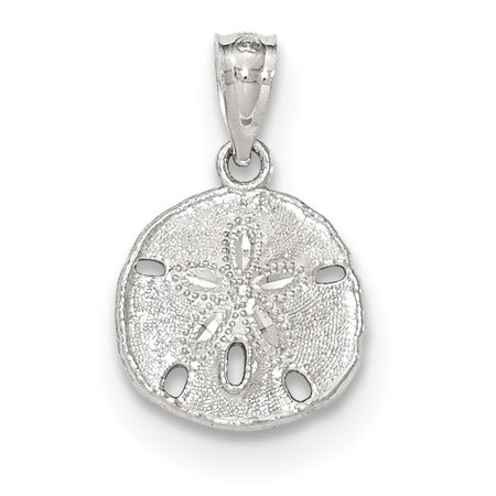 14k White Gold Textured Sand Dollar Sea Star Starfish Pendant Charm Necklace Shore Shell Gifts For Women For Her