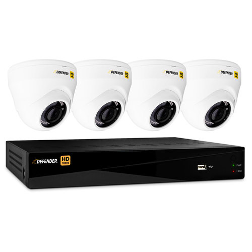 Defender HD 1080p 8-Channel 1TB DVR Security System with 4 Dome Cameras