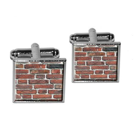 Brick Wall - Bricks Mason Masonry Square Cufflinks Check Square Cufflinks