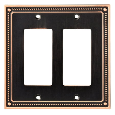 - Franklin Brass Classic Beaded Double Decorator Wall Plate in Bronze With Copper Highlights