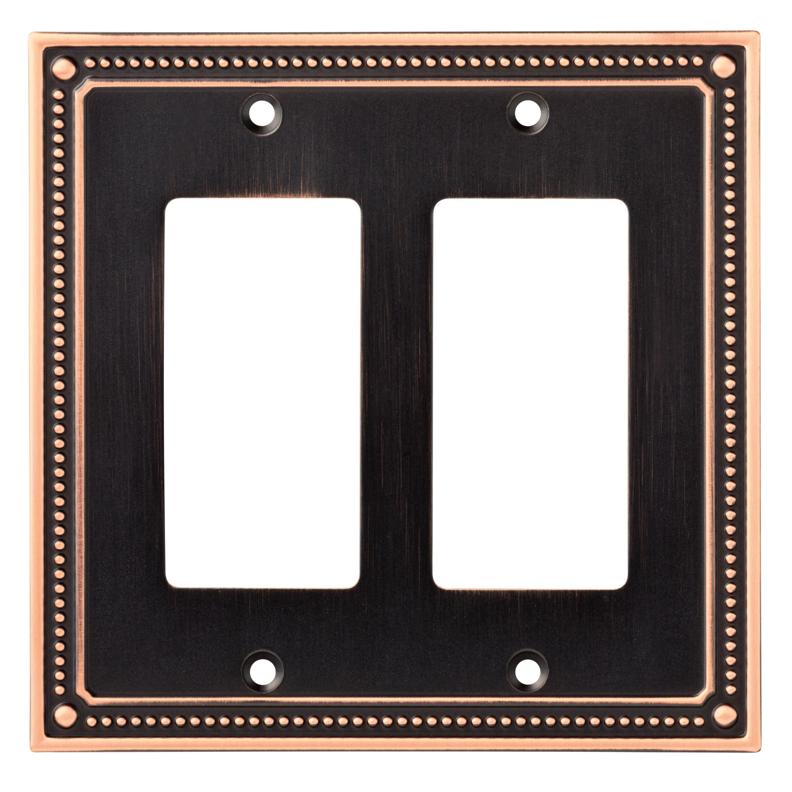Franklin Brass Classic Beaded Double Decorator Wall Plate in Bronze With Copper Highlights