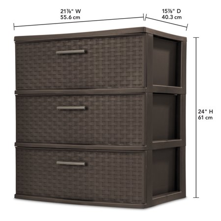 Sterilite, 3 Drawer Wide Weave Tower, Espresso