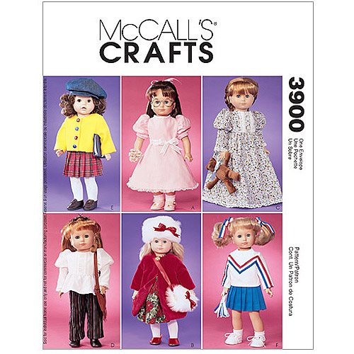 "McCall's Pattern Doll Clothes For 18"" Dolls, 1 Size Only"