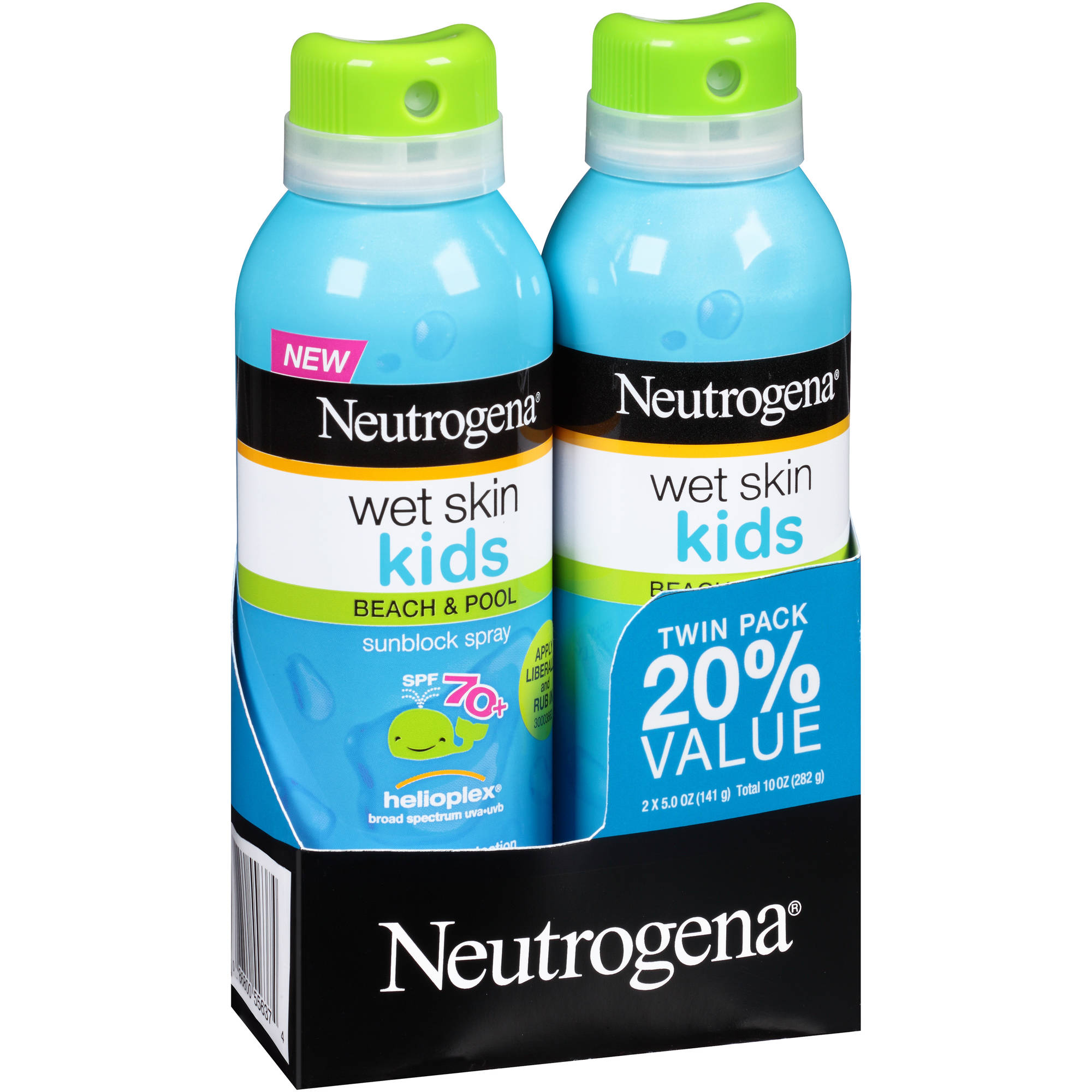 Neutrogena Wet Skin Kids Beach & Pool Sunblock Spray, SPF 70+, 5 oz, (Pack of 2)