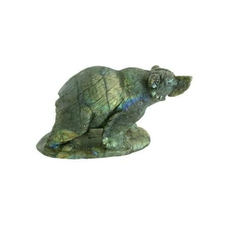 Natural Stone Hand Carved Bear Carving Labradorite