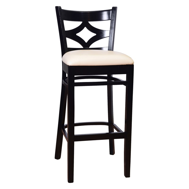 Curtain Back Bar Stool in Black by Beechwood Mountain