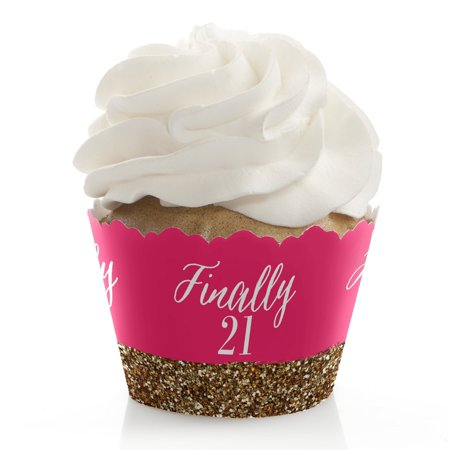 Finally 21 Girl - 21st Birthday - Party Cupcake Wrappers - Set of
