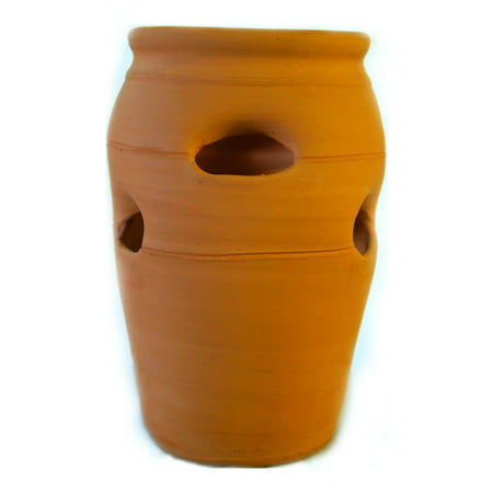 Urn Weathered Terra Cotta (Terracotta Clay #2 Strawberry Pot Herb Jar Planter )