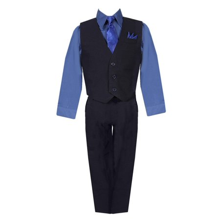 Boys Black Navy Shirt Vest Pants Neck Tie Pocket Hanky 5 pcs Suit 8-20