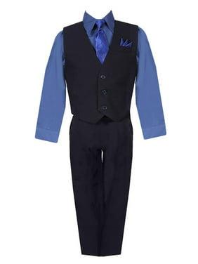 Boys Black Navy Shirt Vest Pants Neck Tie Pocket Hanky 5 pcs Suit 8-20