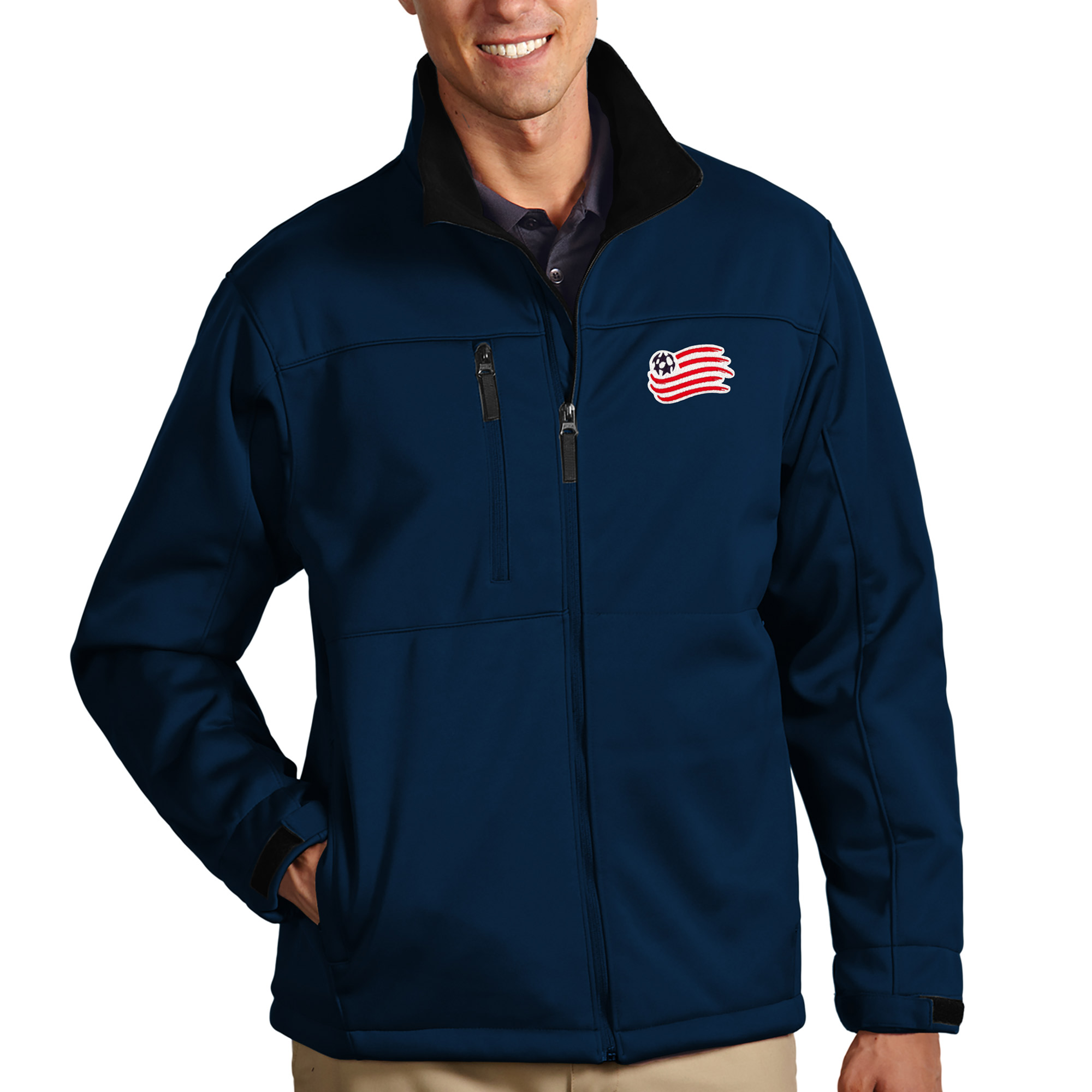 New England Revolution Antigua Traverse Full Zip Jacket - Navy