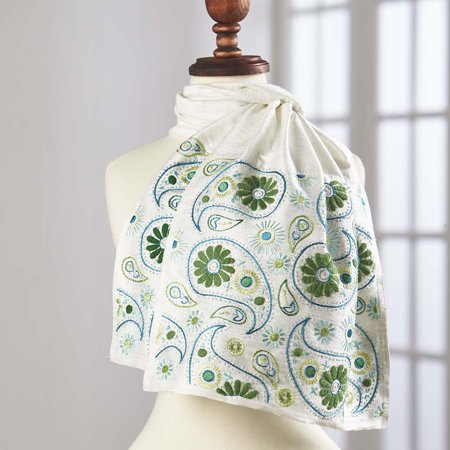 Paisley Embroidery - Herrschners® Silk Paisley Scarf-Ivory Stamped Embroidery