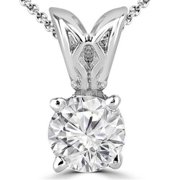Majesty Diamonds 0.33 CT Solitaire Round Diamond Pendant Necklace in 14K White Gold With Chain, 0.33 Carat