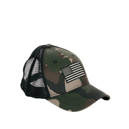 Men's Camo with Embroidery Flag Trucker Hat (Glock Hat Camo)