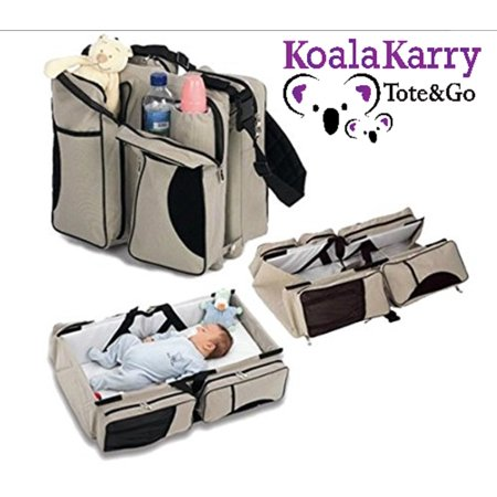 Koala Karry Tote   Go Baby Diaper Bag And Portable Bassinet  3 In 1  Padded Changing Station   Travel Sleep Crib   Bottle  Toy  Wipes Storage Pockets   Infants  Newborns  Toddlers