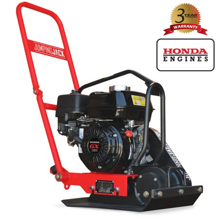 JUMPING JACK 5.5 HP Vibratory Plate Compactor Tamper for Dirt Asphalt Gravel Soil Compaction Powered by Honda GX160 Engine ()