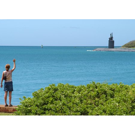 LAMINATED POSTER A family member waves goodbye as USS Greeneville (SSN 772) deploys with Expeditionary Strike Group O Poster Print 24 x 36