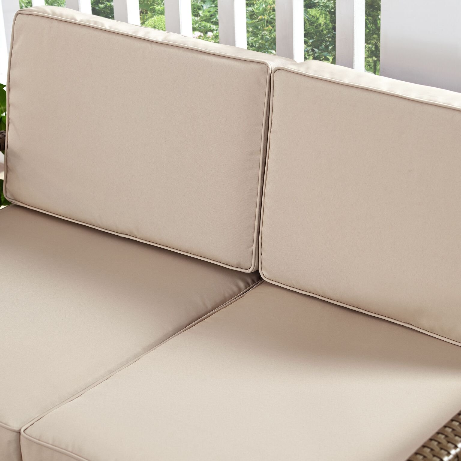 Crosley Lauderdale 4 Piece Outdoor Wicker Conversation Set In Weathered Brown Wicker With Sand Cushions