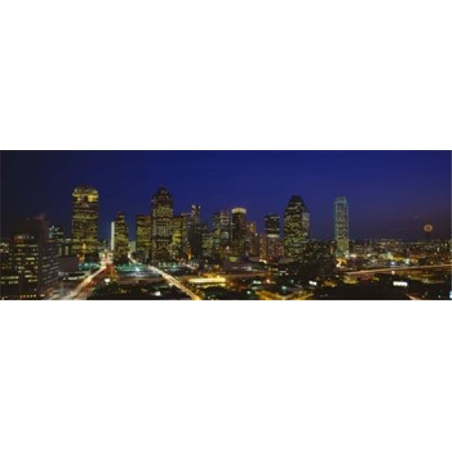 Buildings in a city lit up at night  Dallas  Texas  USA Poster Print by  - 36 x 12 - image 1 of 1