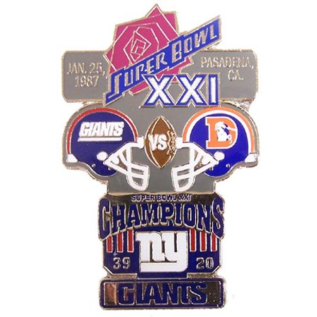 Super Bowl XXI (21) Oversized Commemorative Pin Super Bowl Xxi