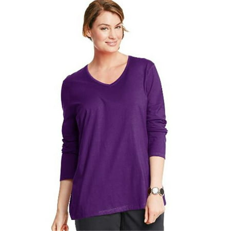 OJ043 Long-Sleeve V-Neck 100 Percentage Cotton Womens Tees, Violet Splendor - 4XL