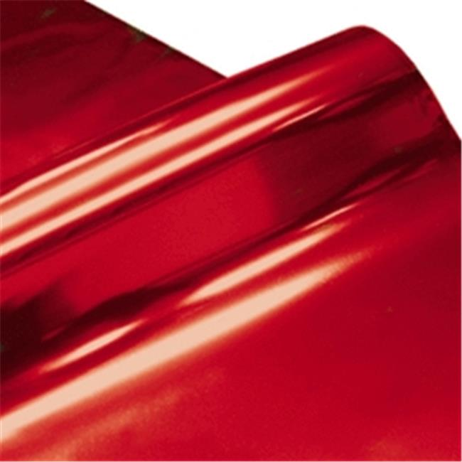 Cindus 78694 30 in. x 5 ft. Cellophane Wrap Roll - Metallic Red & Silver