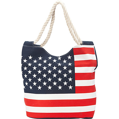 Ashley M Stars And Stripes Canvas Zippered Tote Bag