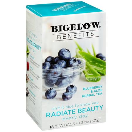 (2 Pack) Bigelow, Benefits Blueberry & Aloe Herbal, Tea Bags, 18 - Aloe Tea