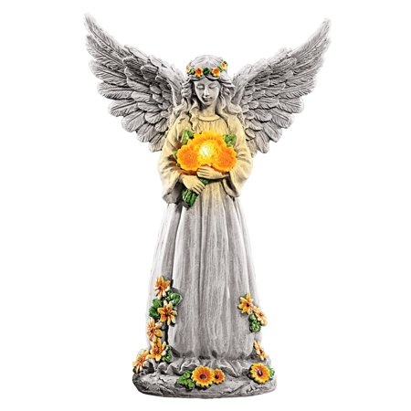 Collections Etc Solar Light Up Angel With Sunflowers Wings Spread Garden Statue