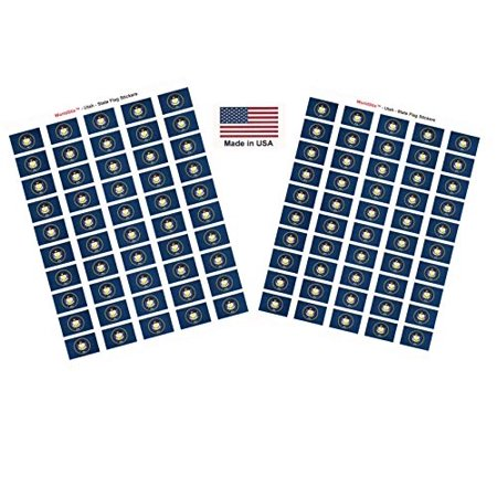 "Made in USA! 100 Utah 1.5"" x 1"" Self Adhesive State Flag Stickers, Two Sheets of 50, 100 Utah Sticker Flags Total"