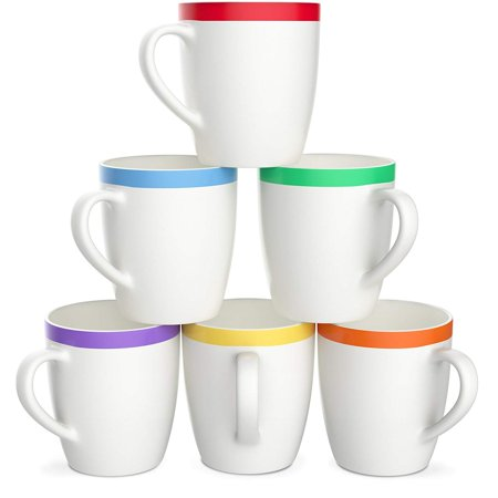 Tayyakoushi Hot Tea Cocoa Mug Set with Cool Decorative Red Orange Yellow Green Blue Purple Color Trim - Microwave and Dishwasher Safe, 12 Ounce Coffee Set of 6, White Ceramic Porcelain Hot Weather Sage Green