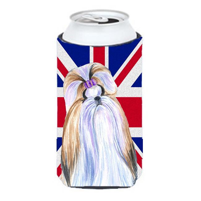 Carolines Treasures SS4907TBC Shih Tzu With English Union Jack British Flag Tall Boy bottle sleeve Hugger - 22 To 24 Oz. - image 1 of 1