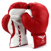 Pair of 8 Oz Children Kids Youth Lace Up Training Boxing Gloves w/ Soft Padding, Durable Construction (Red)
