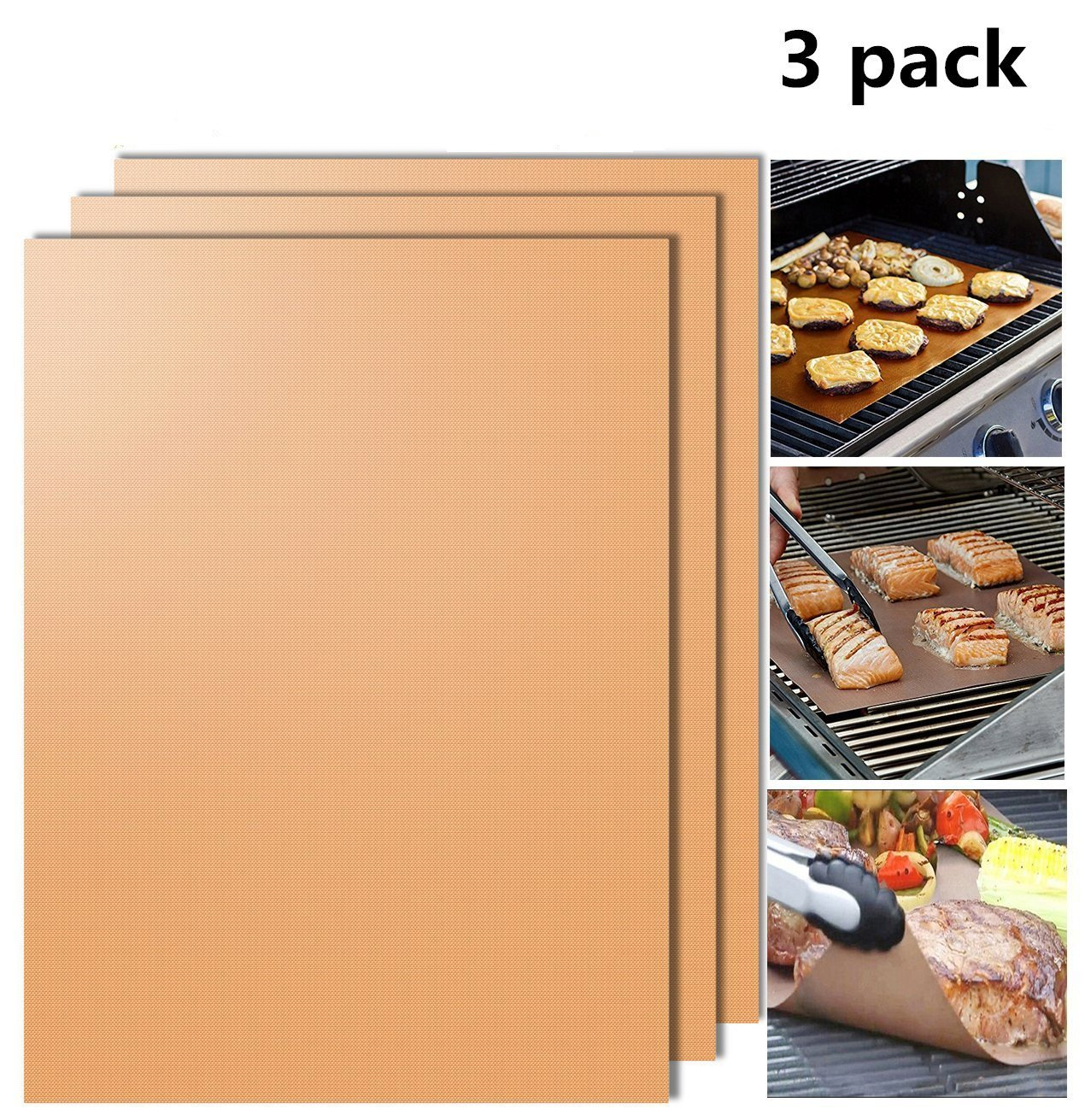 Grill Mat Non-stick BBQ Grill & Baking Mats- 13 X 15.75 Inches (Gold)