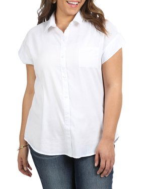 Women's Plus Short Sleeve Woven Shirt