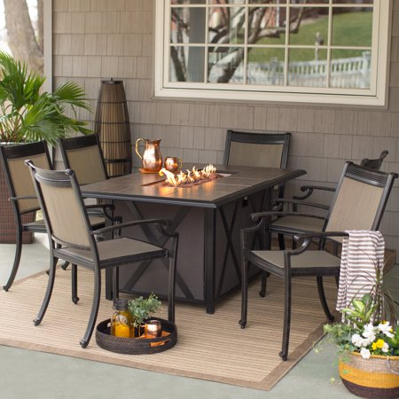 Belham Living Tulie 7 Piece Aluminum Fire Pit Patio Dining Set
