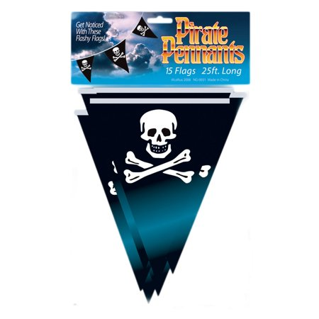 Loftus Party Pirate Skull & Crossbones 25' Pennant Banner, Black](Pirate Flag For Sale)