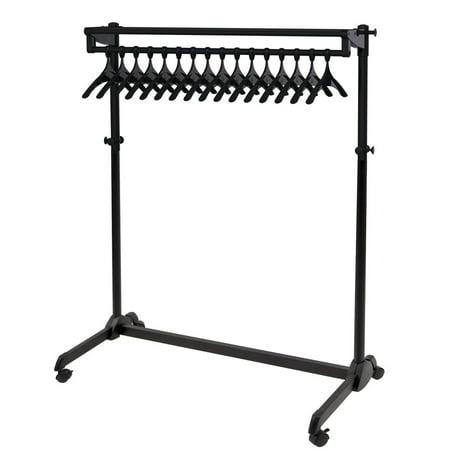 ALBA - Rak along the wall mobile garment rack - 17 antitheft hangers included - Black