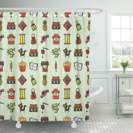 - PKNMT Orange Asia Chinese New Year Red Cake Candy Carp Celebrate China Clip Coins Bathroom Shower Curtain 66x72 inch