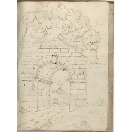 "Roman Arch with Road Below and Trees Above (Smaller Italian Sketchbook leaf 34 recto) Poster Print by Joseph Wright (Wright of Derby) (British Derby 1734  ""1797 Derby) (18 x 24) - Roman Leaves"