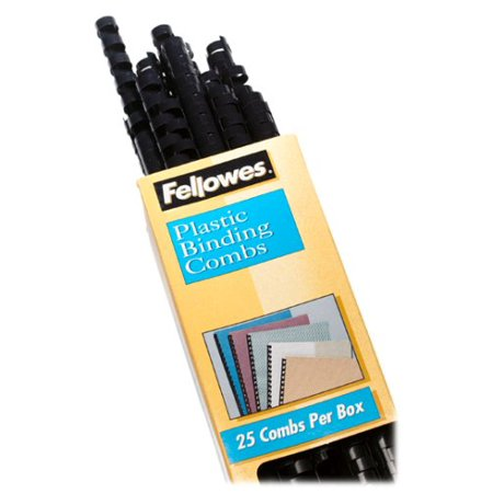 Plastic Comb Binding Spines, 1/2 Inch Diameter, Black, 90 Sheets, 25 Pack (52323), Binding combs for reports or manuals By Fellowes